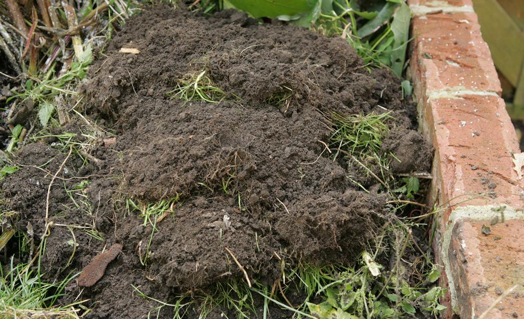 Grassoden auf dem Kompost