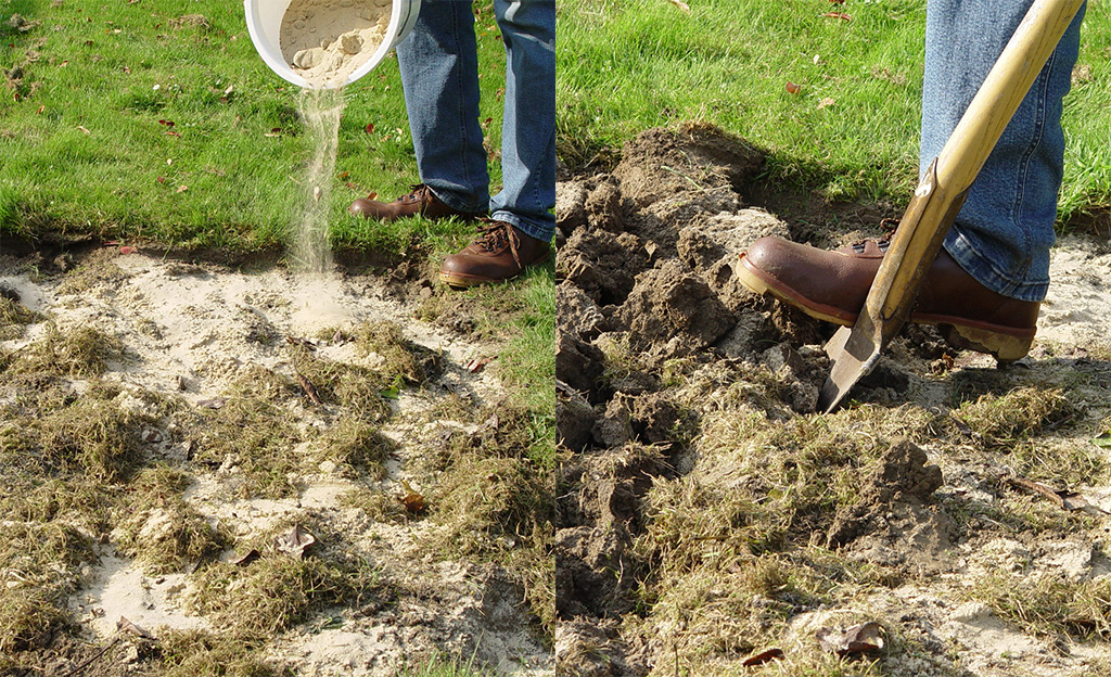 Sand und organisches Material auf das Beet ausbringen und einharken.