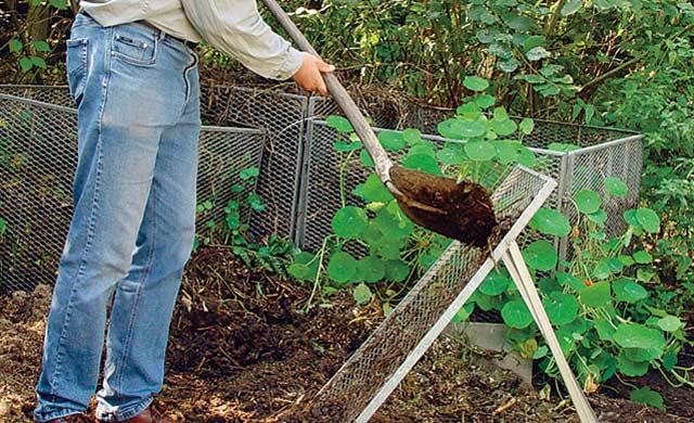 Komposterde  wird durch ein Sieb geschmissen