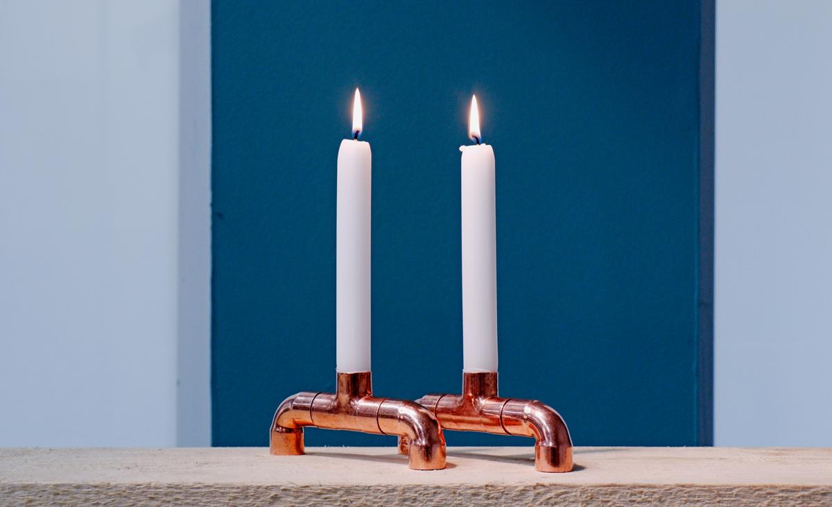 Kupferrohr-Kerzenständer