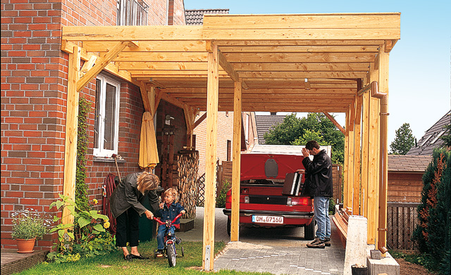 Carport mit system aufbauen gartenhaus carport for Alternatives haus bauen