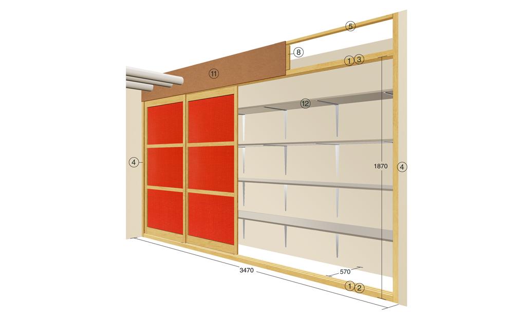 Zeichnung: Wandschrank bauen