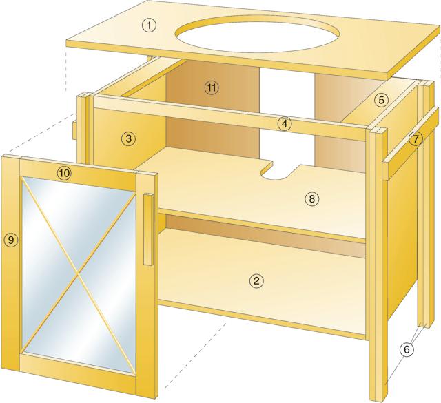 bauanleitung waschtisch korpus selbst bauen waschbecken wc. Black Bedroom Furniture Sets. Home Design Ideas