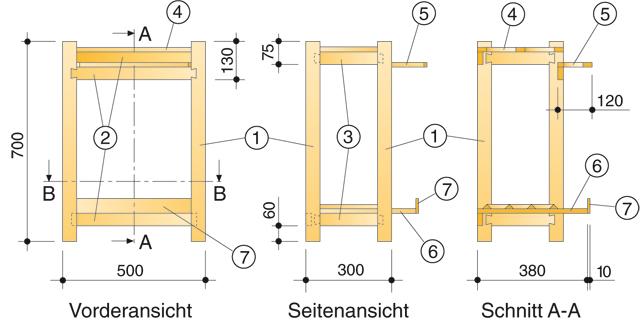 Gartengeräteständer Zeichnung 1