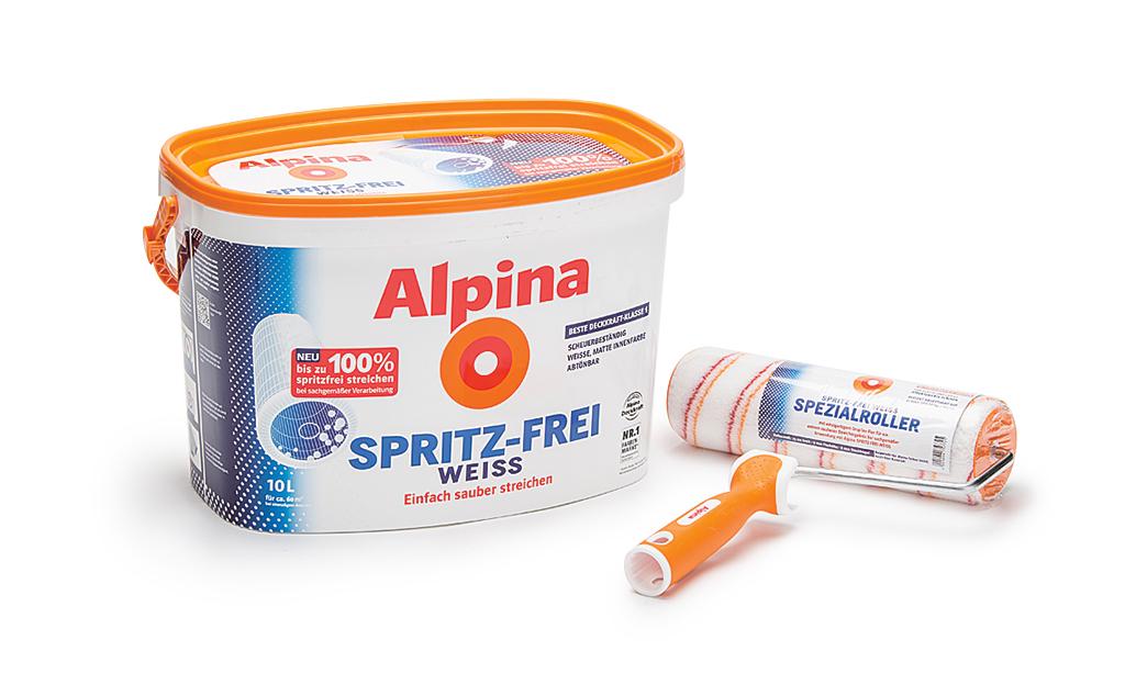 Spritzfreie Farbe von Alpina