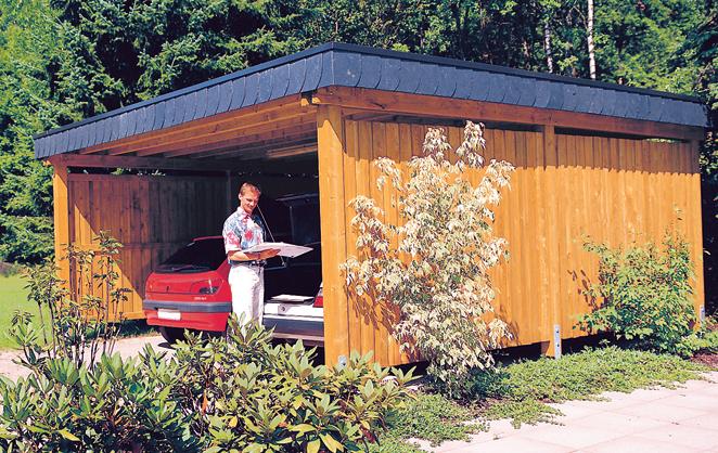 Einzel- und Doppelcarport von Werth-Holz