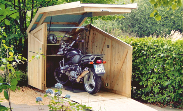 motorradgarage selber bauen fahrradbox bikeport schuppen. Black Bedroom Furniture Sets. Home Design Ideas