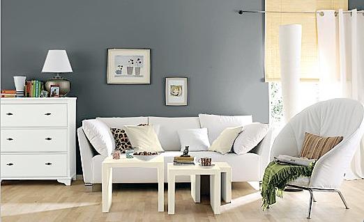 wohnzimmer grau grün:Wandfarbe Küche Hellgrau Bodenfliesen Metall Ikea Modulküche