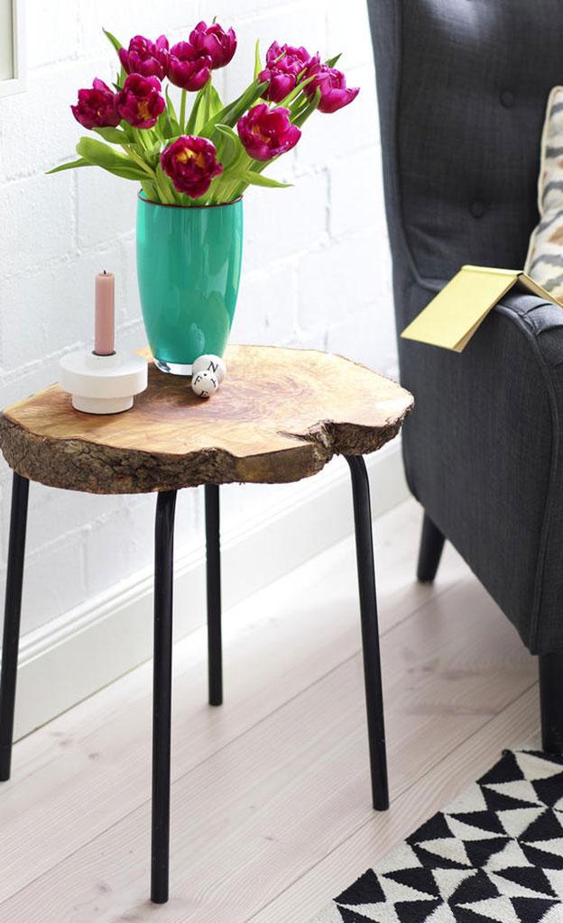 Tisch mit baumscheibe basteln basteln - Tisch baumscheibe ...