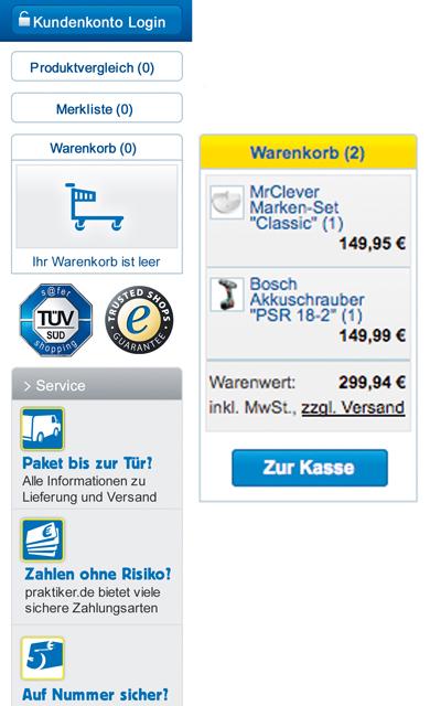 Praktiker-Online-Shop: Warenkorb