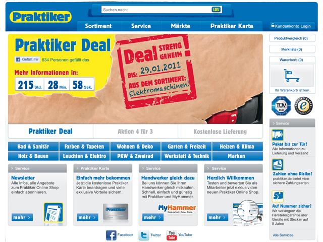 Praktiker-Online-Shop: Der Bestellvorgang