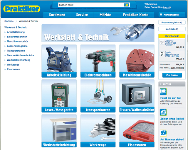 Praktiker-Online-Shop: Produktgruppe wählen