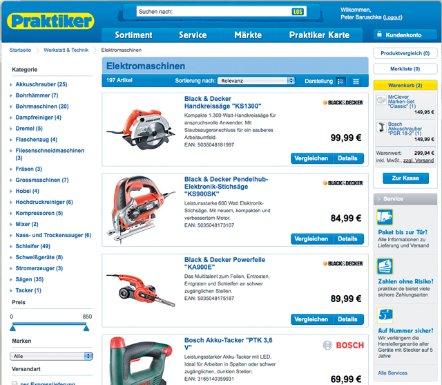 Praktiker-Online-Shop: Werkzeug suchen