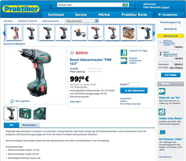 Praktiker-Online-Shop: Werkzeug auswählen