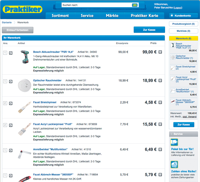 Praktiker-Online-Shop: Der Warenkorb