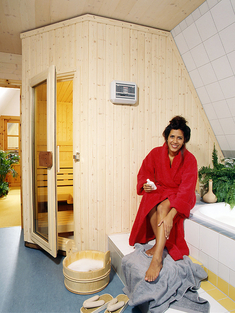 sauna in der dachschr ge k che bad sanit r. Black Bedroom Furniture Sets. Home Design Ideas