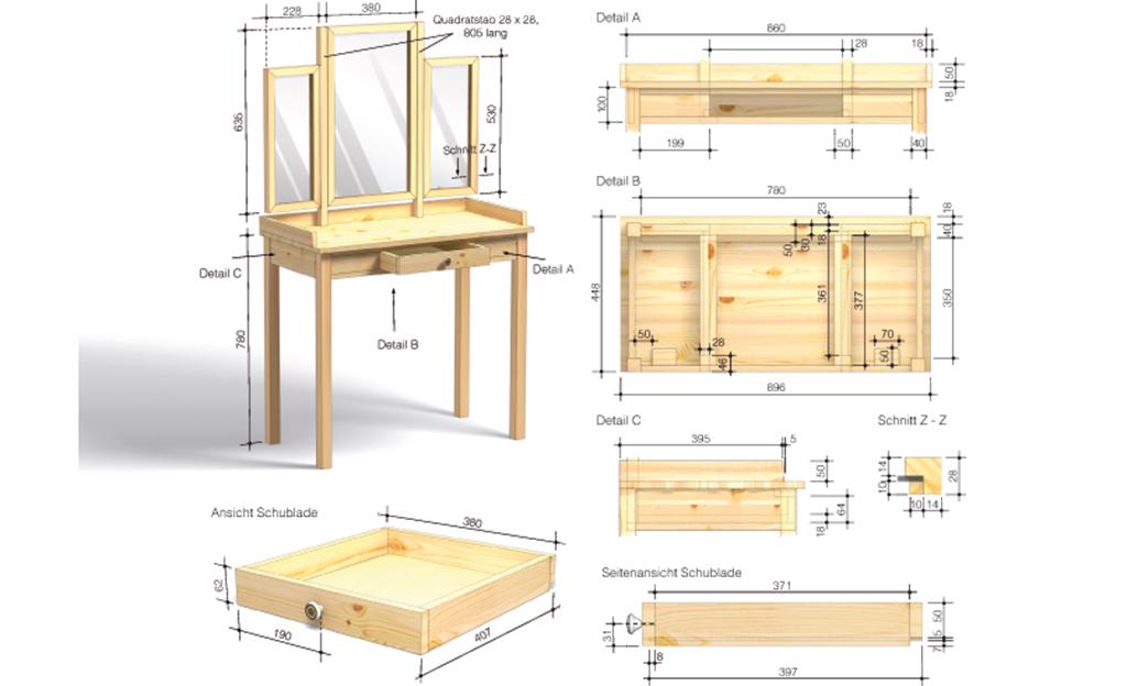 schminktisch selber bauen holzarbeiten m bel. Black Bedroom Furniture Sets. Home Design Ideas
