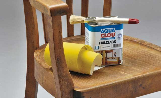 Sitzfläche von Stuhl nachlackieren