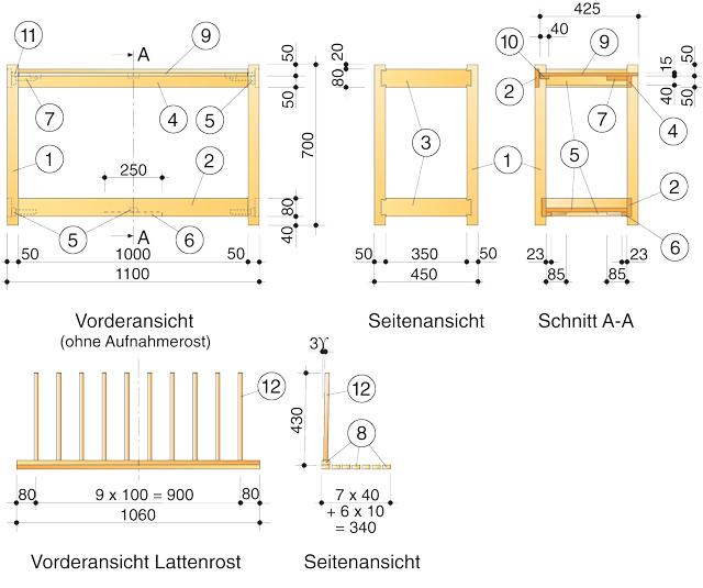 Zeichnung Stiefelbank