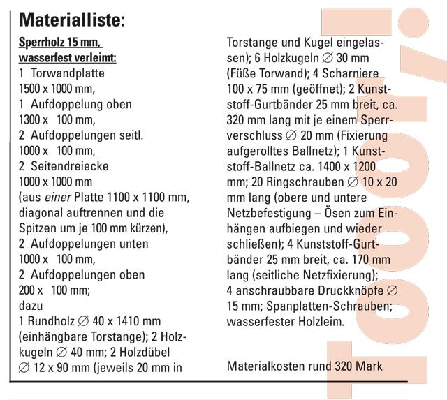 Materialliste Torwand