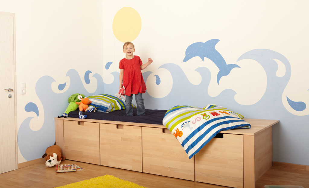 kinderzimmer wandmalerei maltechniken. Black Bedroom Furniture Sets. Home Design Ideas