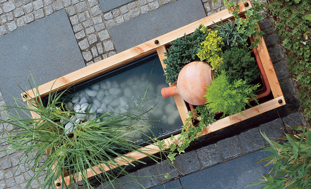 terrassenbrunnen wasser im garten teich. Black Bedroom Furniture Sets. Home Design Ideas