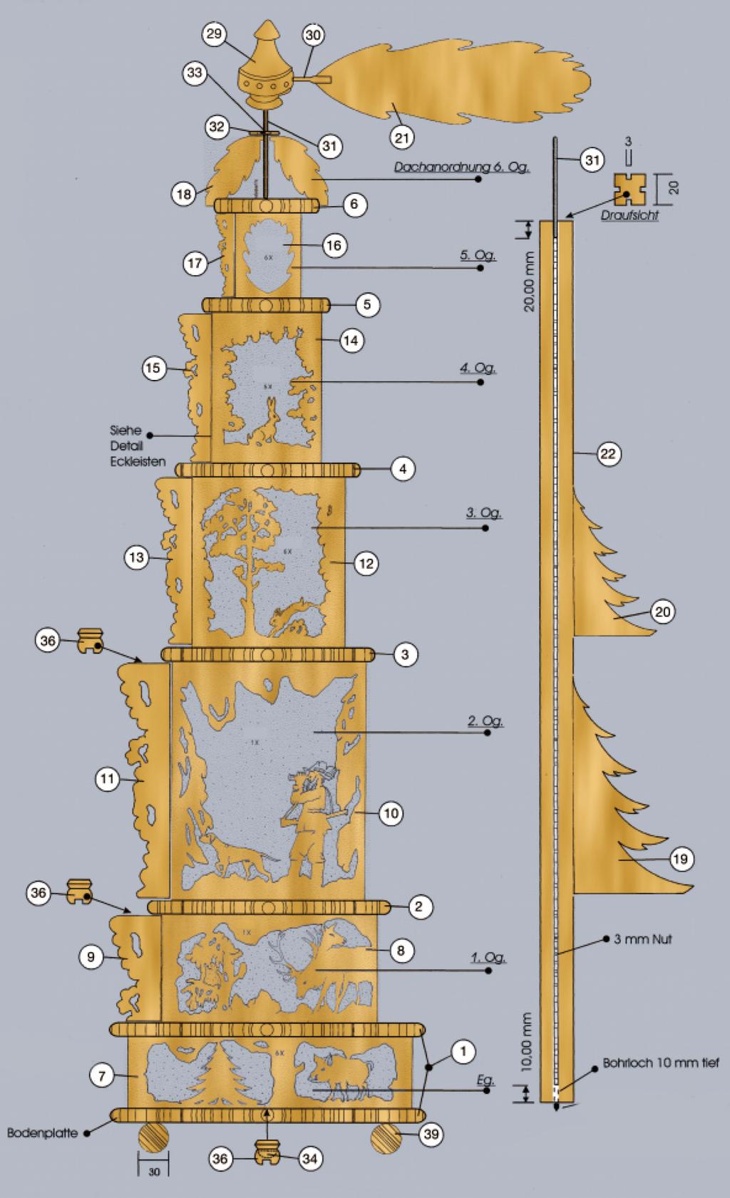 Zeichnung Weichnachtspyramide