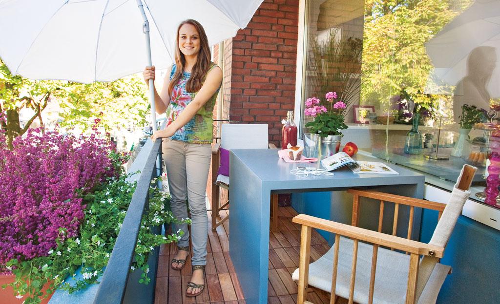 Holzfliesen-Balkon