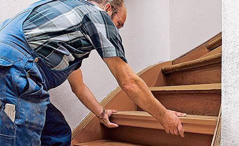 Holztreppe: Stufen aufdoppeln