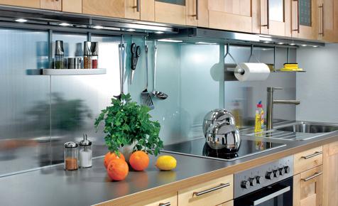 Küchenspiegel aus Glas & Metall
