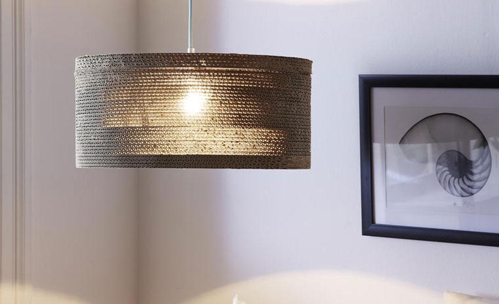 lampenschirm aus wellpappe basteln. Black Bedroom Furniture Sets. Home Design Ideas