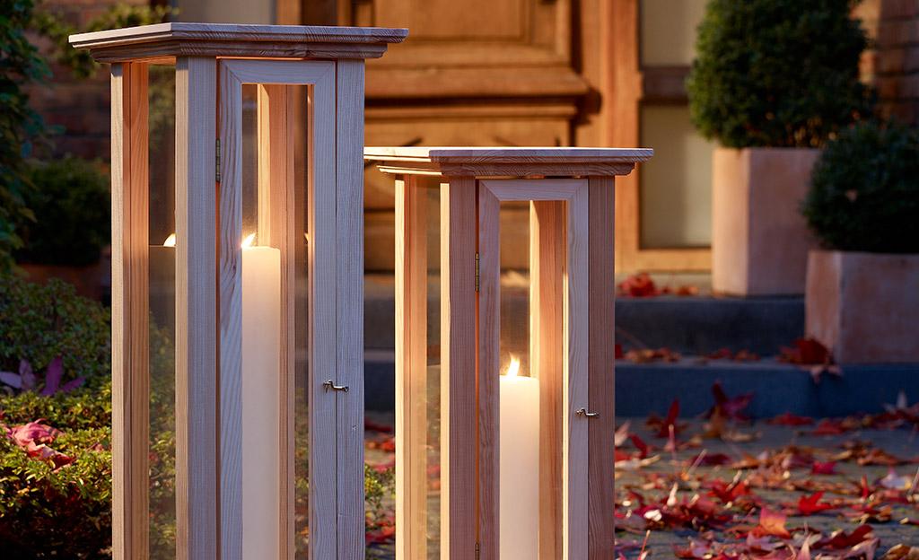 holzlaterne bauen licht atmosph re. Black Bedroom Furniture Sets. Home Design Ideas
