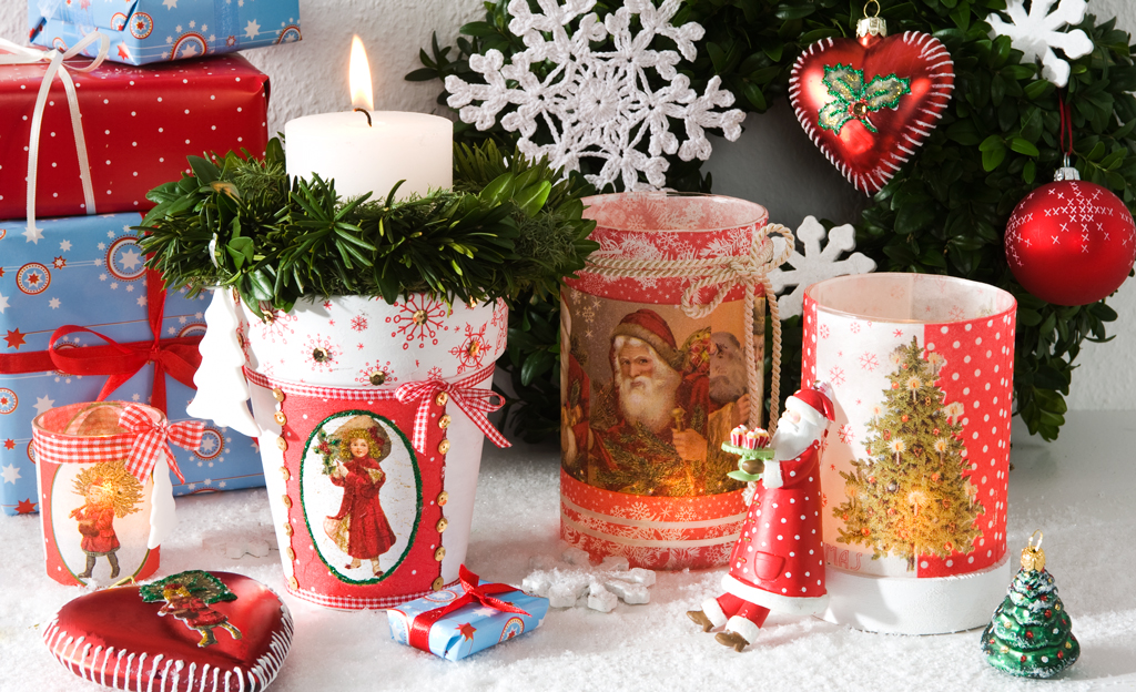 Serviettentechnik: Weihnachtsdeko basteln