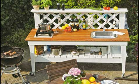 Mobile Gartenküche bauen