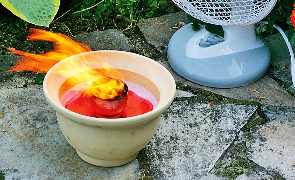 Schmelzfeuer für die Terrasse