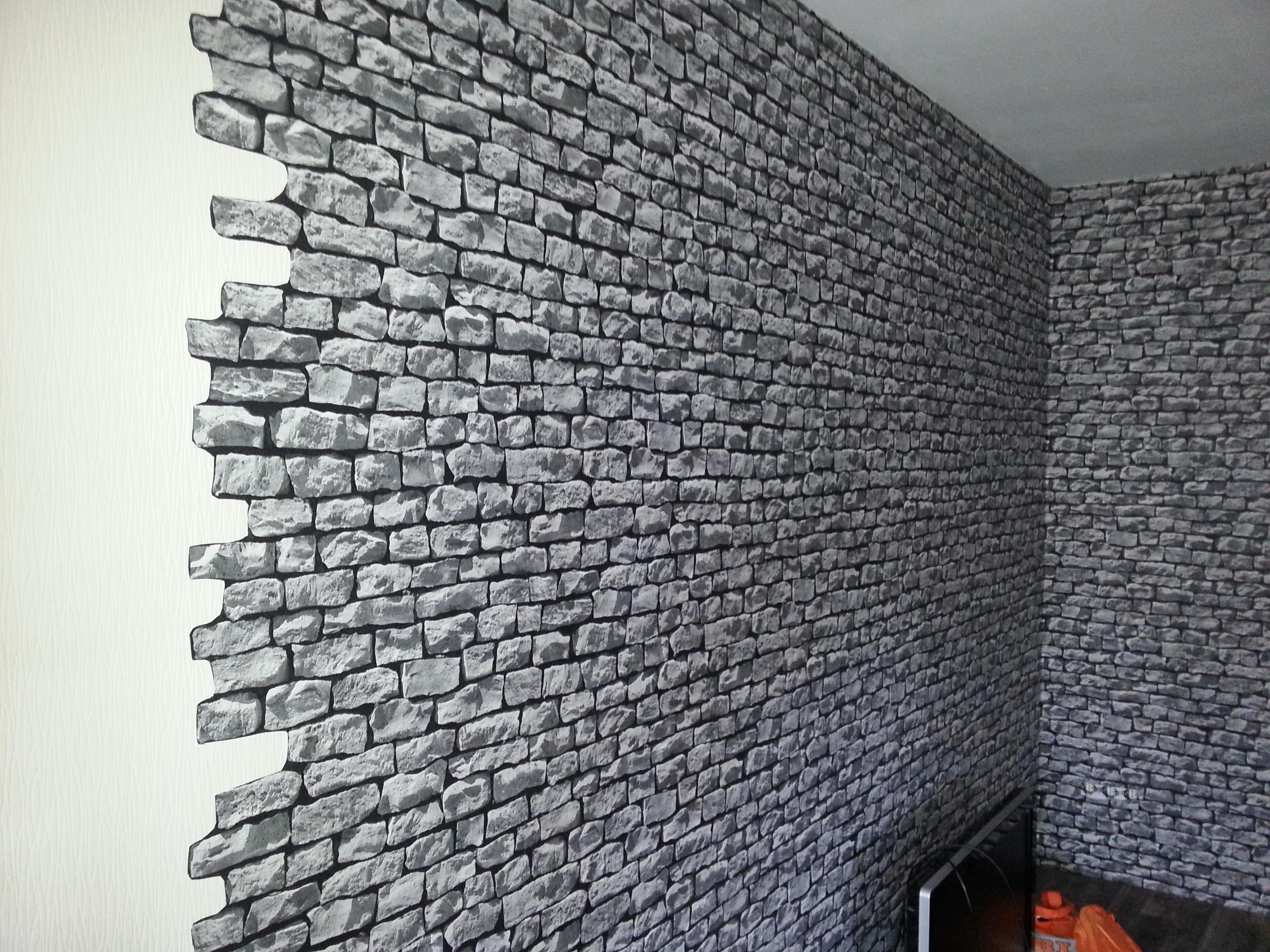 Wand in Steinoptik tapezieren - Doppelschnitt  Userprojekte  selbst.de
