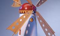 Gartenwindmühle aus Beton
