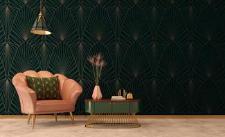 Kräftige und Puderfarben in Kombination mit Gold und geradlinigen Formen. So sieht der Art Deco Stil aus.