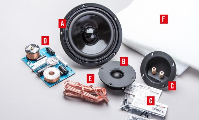 2-Wege-Lautsprecher: Bausatz-Einzelteile