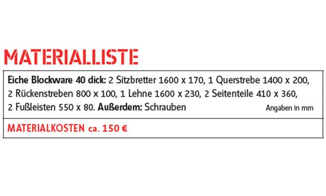 Eichenbank mit Lehne Materialliste