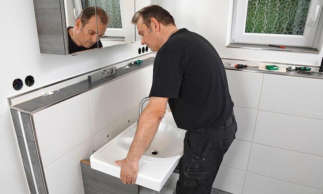 Waschtischmontage