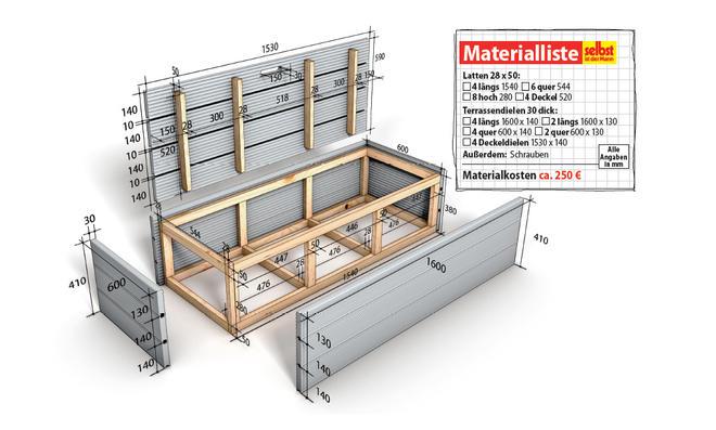 WPC-Terrasse Kasten Zeichnung und Materialliste