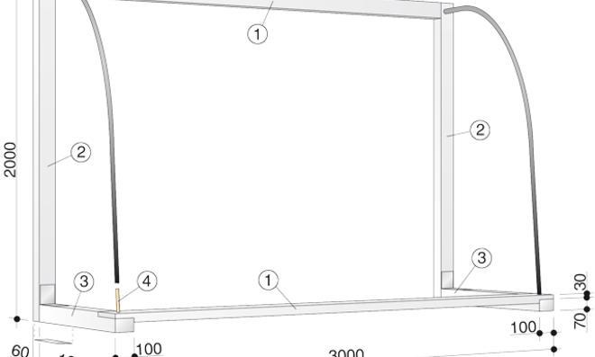 Fußballtor selber bauen: Zeichnung Fußballtor