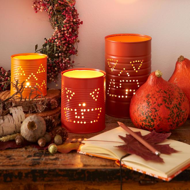 Halloween: Dosen-Windlicht basteln