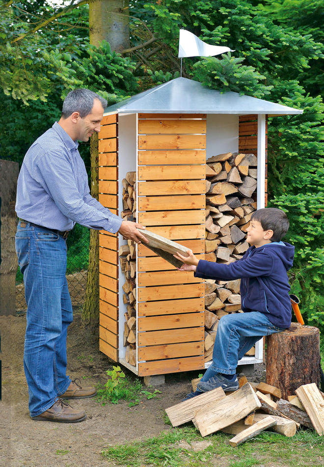 Brennholzregal selber bauen  Brennholzregal außen | selbst.de