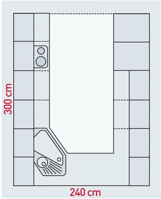 Küche mit U-Form