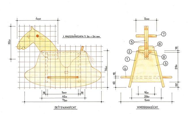 Schaukelpferd bauen: Zeichnung