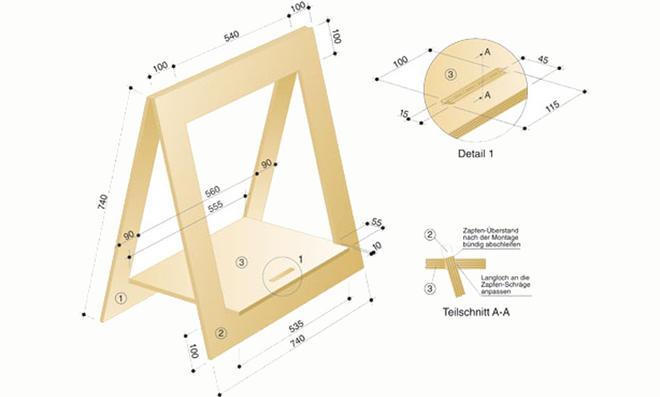 Schreibtischkombination: Zeichnung