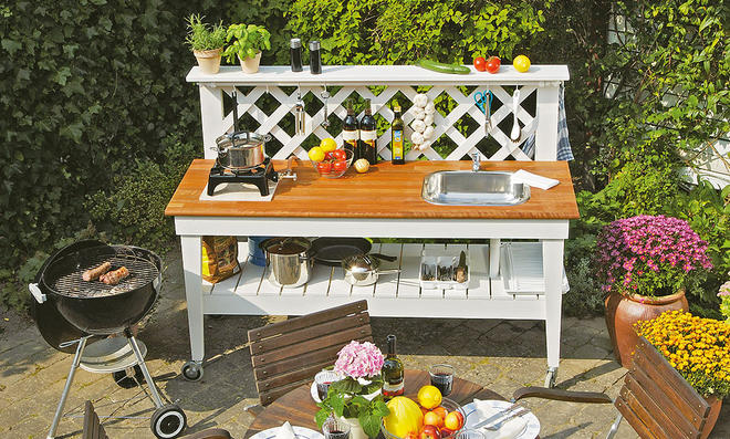 Gartengestaltung Outdoor Küche : Outdoor küche gartenküche aus hellem sichtbeton