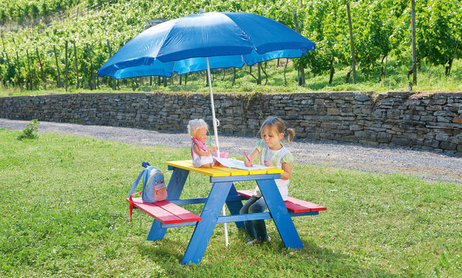 Kinderbank mit Tisch für draußen Bauanleitung zum selber